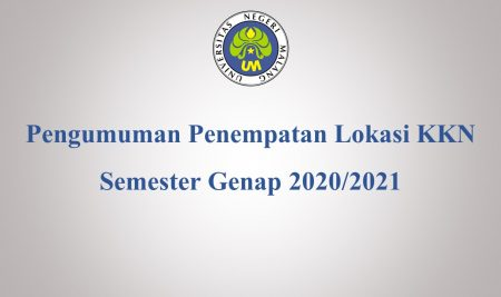 Announcement of the placement of the location of the 2020/2021 KKN even semester